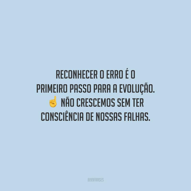 Reconhecer o erro é o primeiro passo para a evolução. Não crescemos sem ter consciência de nossas falhas.