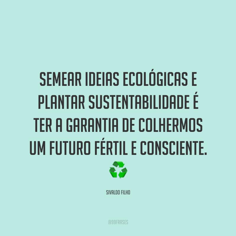 Semear ideias ecológicas e plantar sustentabilidade é ter a garantia de colhermos um futuro fértil e consciente. ♻️