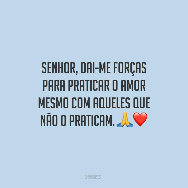 Senhor, dai-me forças para praticar o amor mesmo com aqueles que não o praticam.