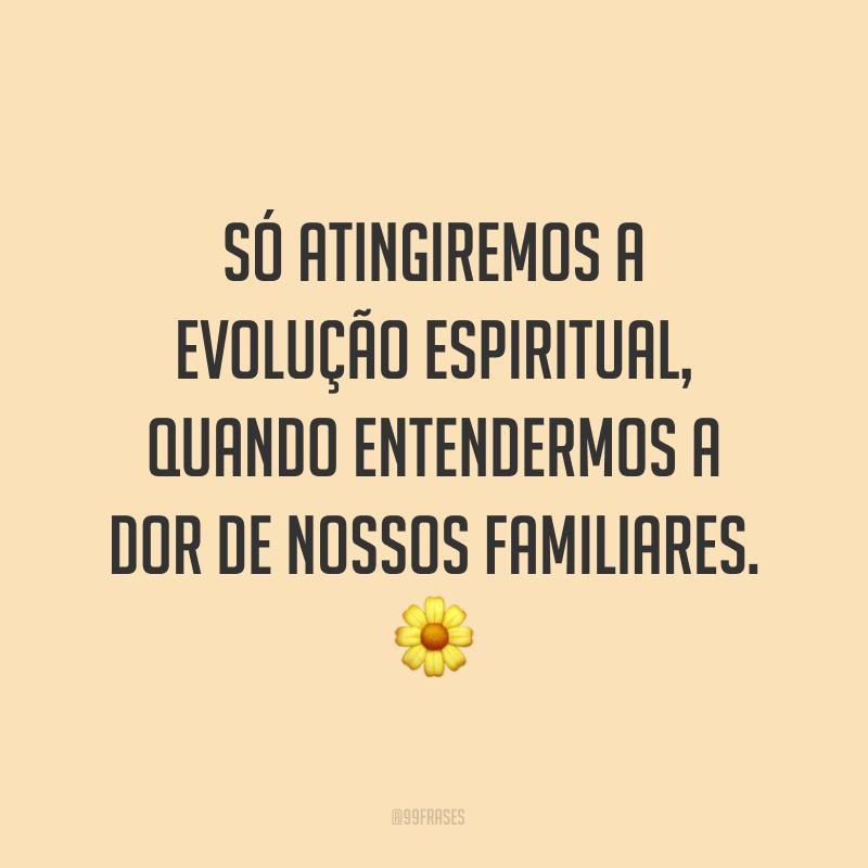 Só atingiremos a evolução espiritual, quando entendermos a dor de nossos familiares. ?