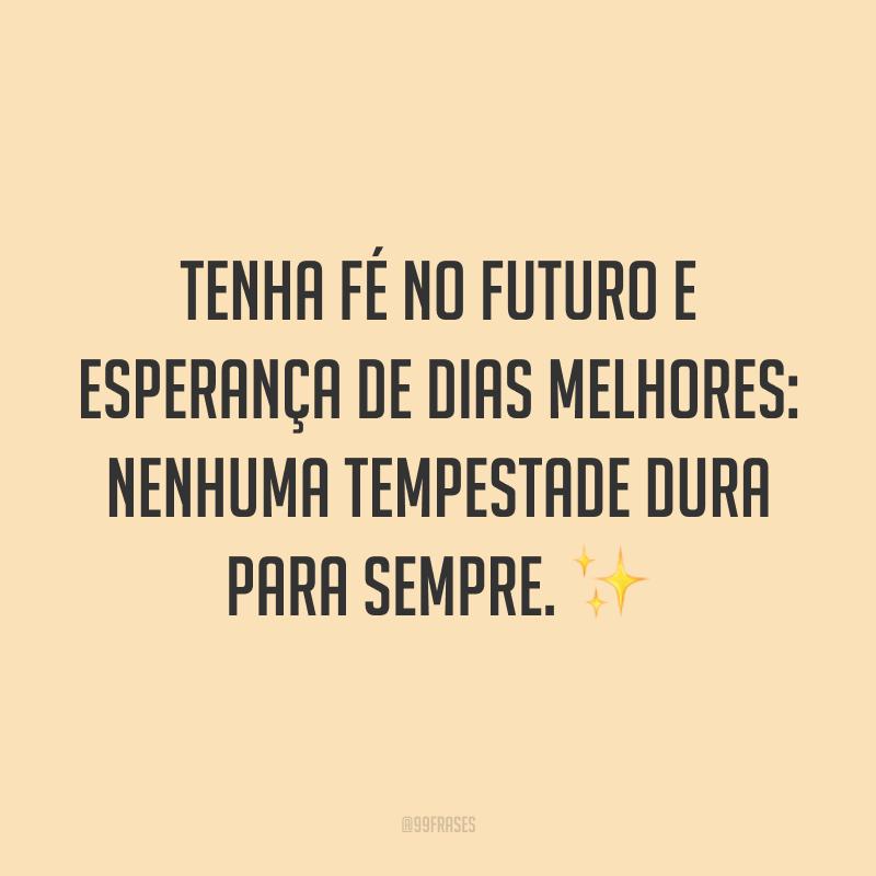 Tenha fé no futuro e esperança de dias melhores: nenhuma tempestade dura para sempre. ✨
