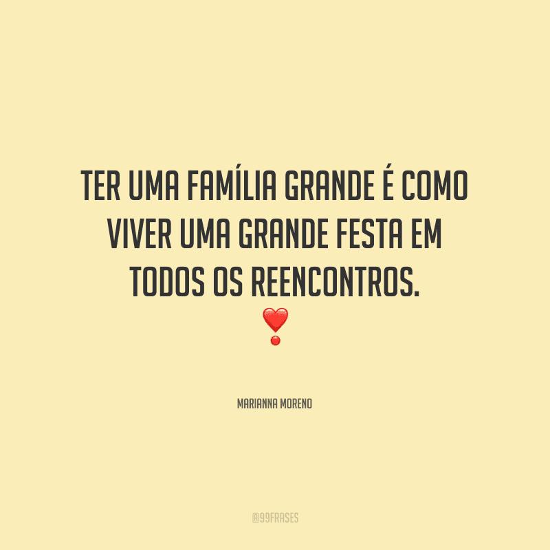Ter uma família grande é como viver uma grande festa em todos os reencontros.