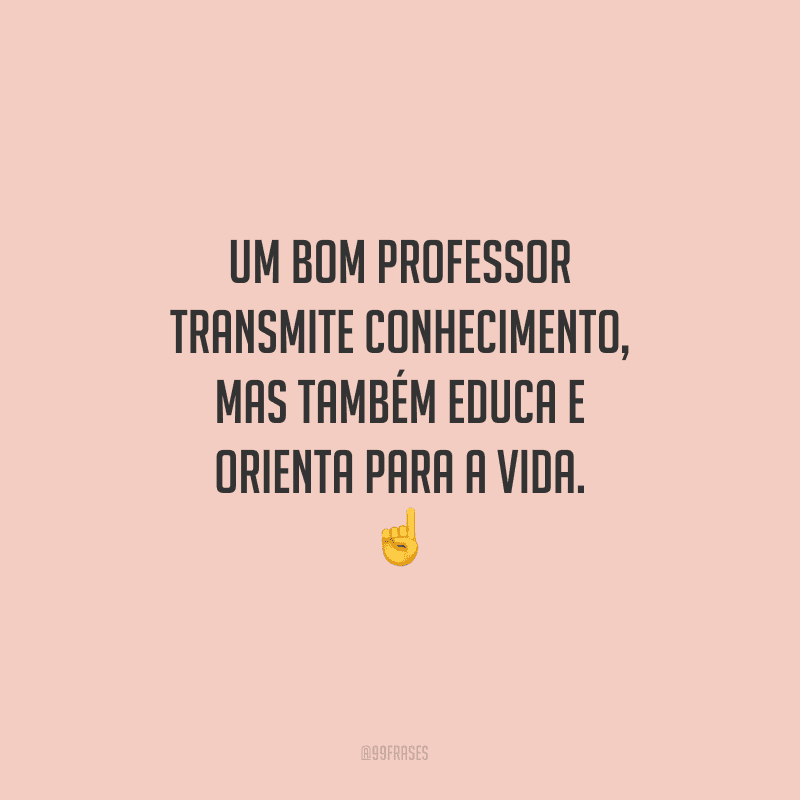 Um bom professor transmite conhecimento, mas também educa e orienta para a vida.
