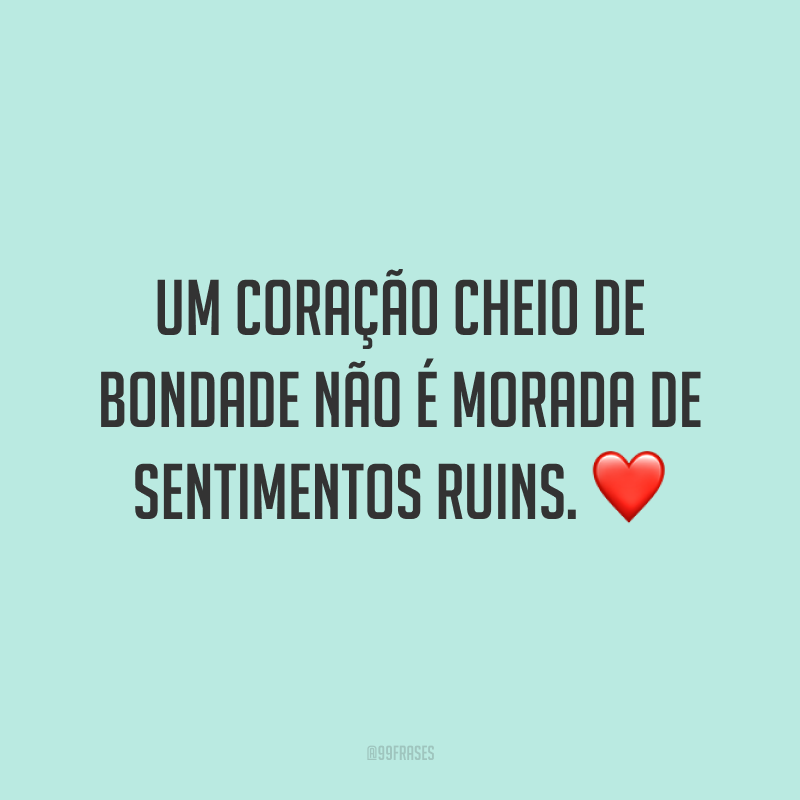 Um coração cheio de bondade não é morada de sentimentos ruins. ❤️