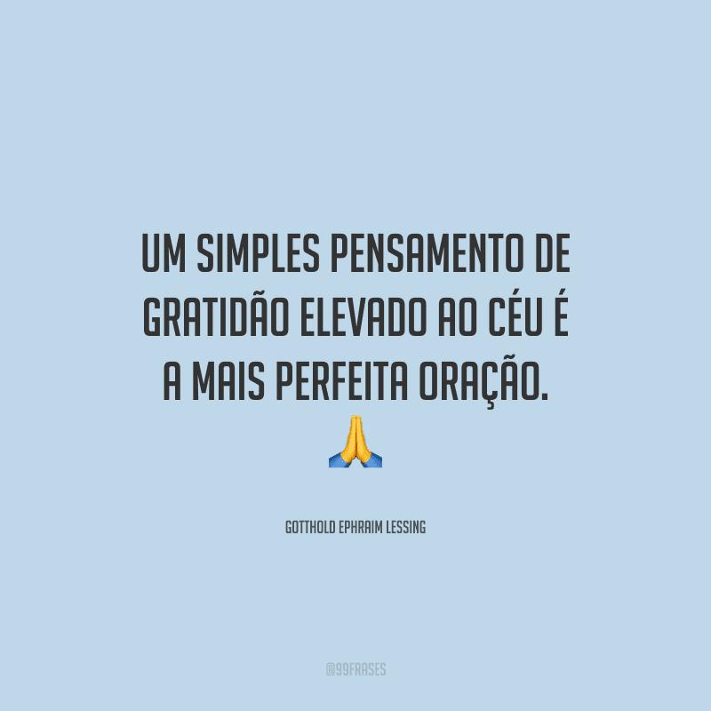 Um simples pensamento de gratidão elevado ao céu é a mais perfeita oração.