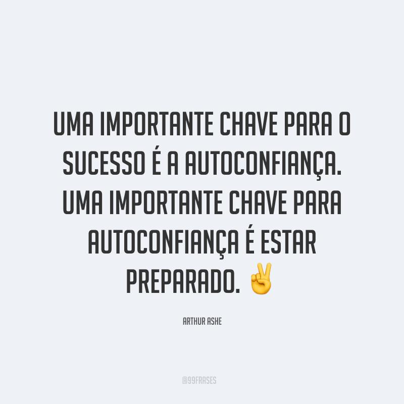 Uma importante chave para o sucesso é a autoconfiança. Uma importante chave para autoconfiança é estar preparado. ✌