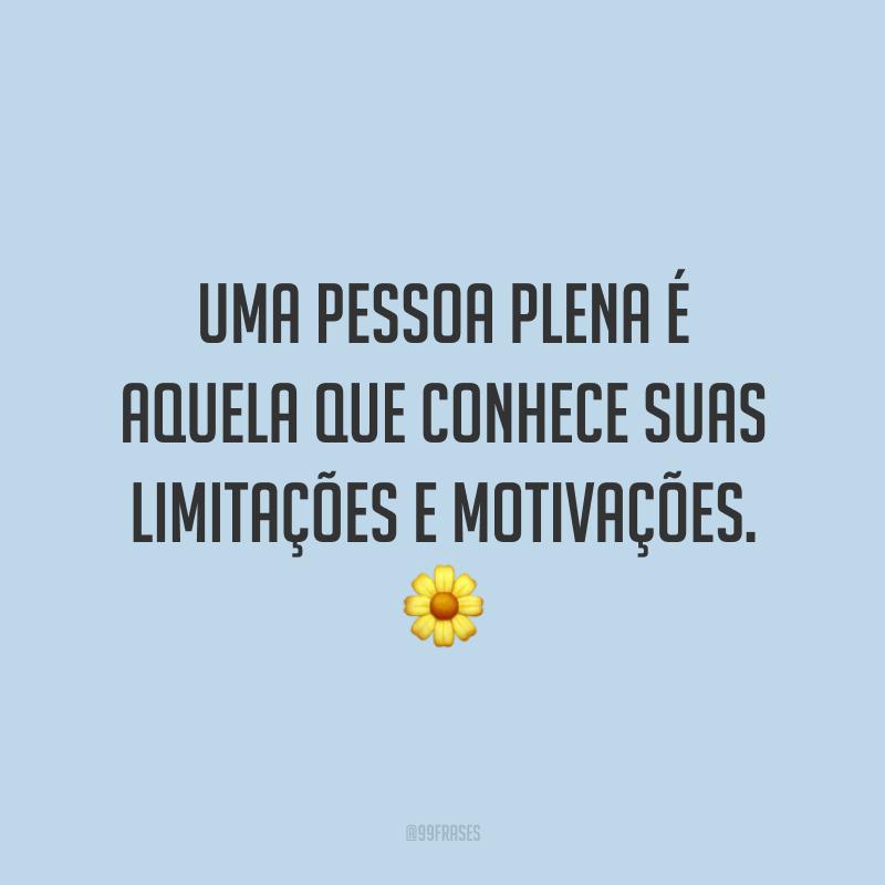 Uma pessoa plena é aquela que conhece suas limitações e motivações.