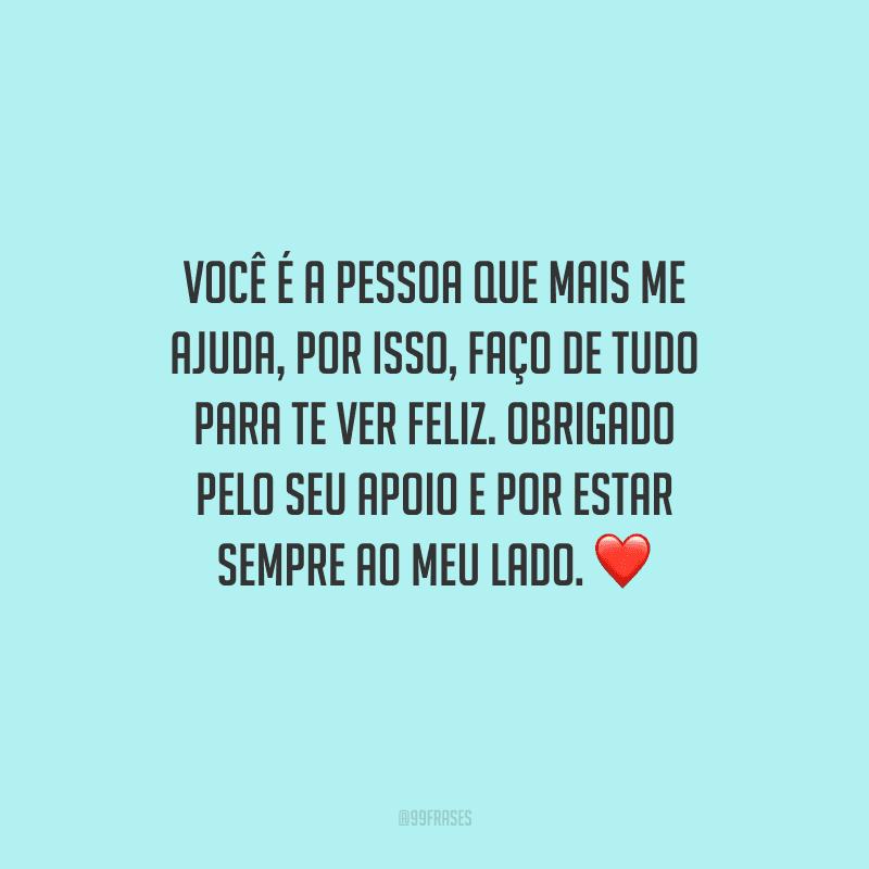 Você é a pessoa que mais me ajuda, por isso, faço de tudo para te ver feliz. Obrigado pelo seu apoio e por estar sempre ao meu lado. ❤️
