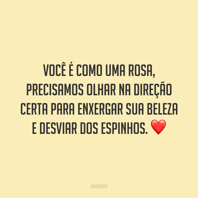 Você é como uma rosa, precisamos olhar na direção certa para enxergar sua beleza e desviar dos espinhos. ❤️