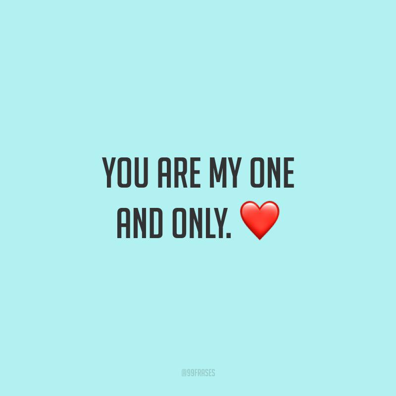 You are my one and only. ❤  (Para mim só existe você.)